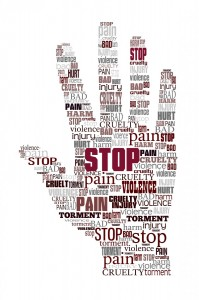 word cloud hand articulating to stop violence and cruelty