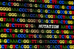 the word 'mutation' written in a sequence of DNA letters