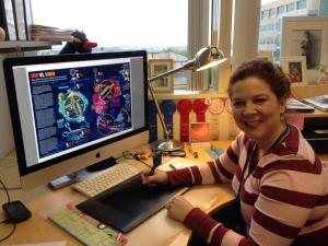 Jennifer Fieldman works on an illustration on her computer.