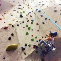 Yonge climbing a rock wall