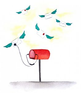 An illustration of letters with wings flying out of a mailbox