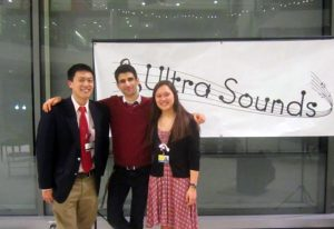 Ultra Sounds members Tim Xu, Sharif Vakili and Christine Shrock posing for a photo after the winter concert.