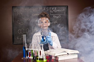 A kid scientist engaged in an experiment