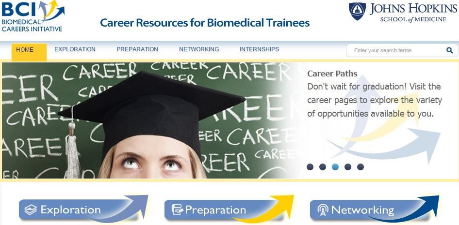 homepage of the biomedical careers initiative