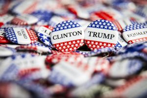 clinton and trump election day buttons