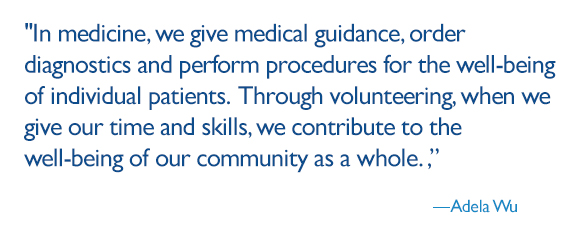 In medicine, we give medical guidance, order diagnostics and perform procedures for the well-being of individual patients. Through volunteering, when we give our time and skills, we contribute to the well-being of our community as a whole.