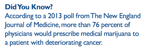Did you know: according to a 2013 poll from The New England Journal of Medicine, more than 76 perfect of physicians would prescribe medical marijuana to a patient with deteriorating cancer