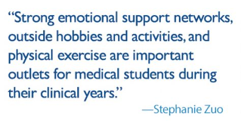 Strong emotional support networks, outside hobbies and activities, and physical exercise are important outlets for medical students during their clinical years.