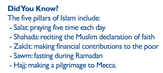 Did You Know? The five pillars of Islam include: - Salat: praying five time each day - Shahada: reciting the Muslim declaration of faith - Zakāt: making financial contributions to the poor - Sawm: fasting during Ramadan - Hajj: making a pilgrimage to Mecca.