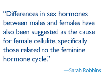 quote by Sarah Robbins: differences in sex hormones between males and females have also been suggested as the cause for female cellulite, specifically those related to the feminine hormone cycle.