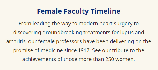 view the female faculty timeline