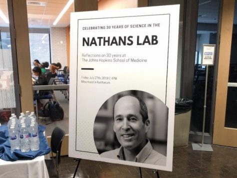 Signage promoting The Nathans Lab 30th birthday celebration.