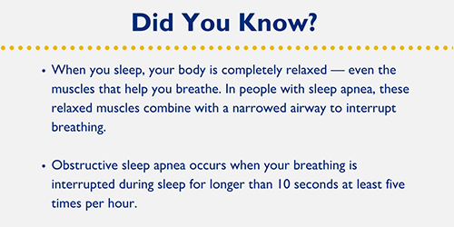 • When you sleep, your body is completely relaxed — even the muscles that help you breathe. In people with sleep apnea, these relaxed muscles combine with a narrowed airway to interrupt breathing. • Obstructive sleep apnea occurs when your breathing is interrupted during sleep for longer than 10 seconds at least five times per hour.