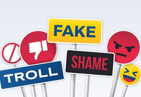 Social media trolling, fake, anger, bullying and scandal signs.