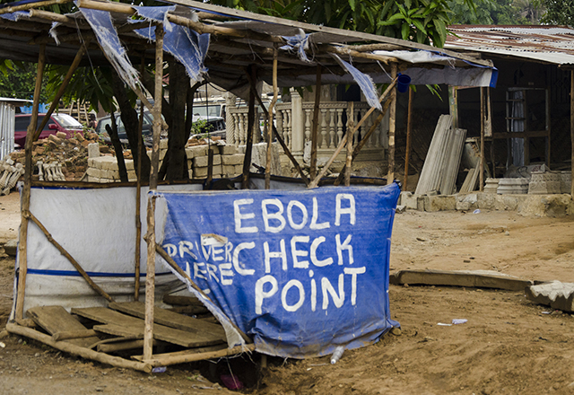 A photo of an ebola check point in Sierra Leone.