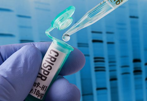 Hand holding vial doing CRISPR genomic research.