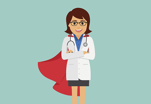 Doctor superwoman. Female doctor with a red cape. Vector illustration.