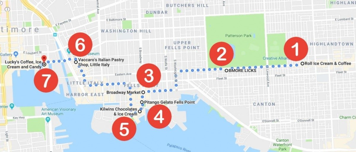 A map of the Baltimore Ice Cream Crawl route.