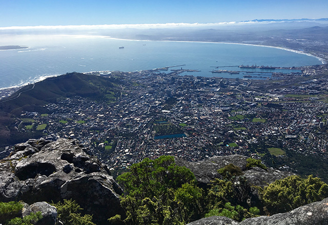 A view of Cape Town from the top of Table Mountain, taken by author Kristin Brig.