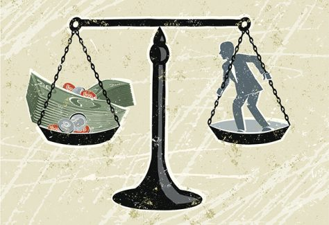 An illustration of a set of scales weighing a businessman and a stack of money.