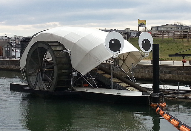A photo of Mr. Trash Wheel in Baltimore's Inner Harbor.