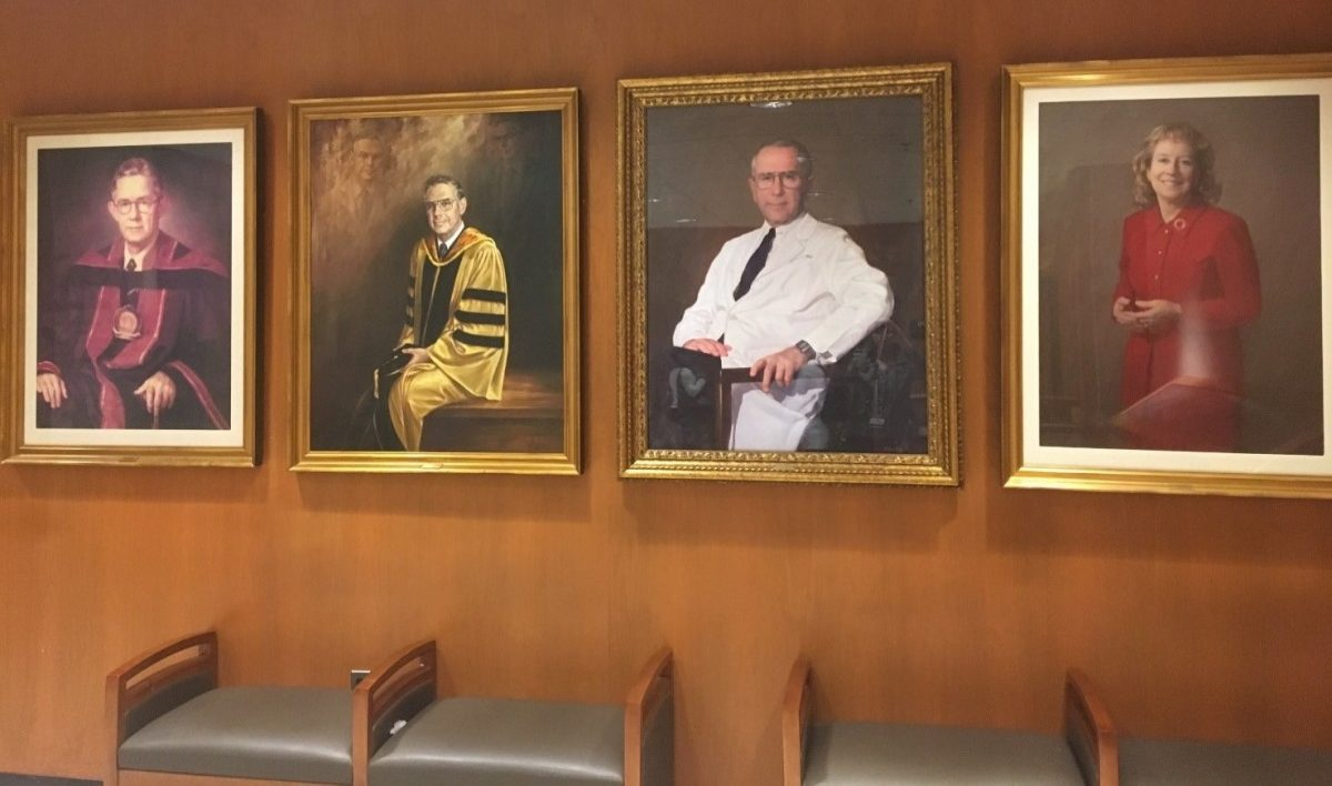 Portraits displayed around Johns Hopkins.