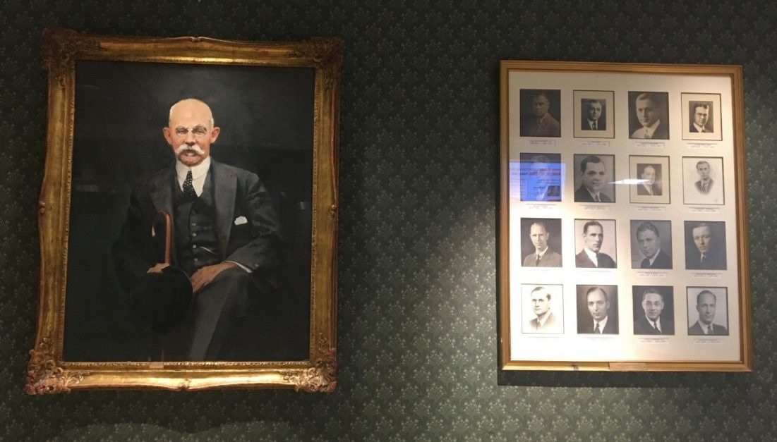 Portraits of men displayed around Johns Hopkins.