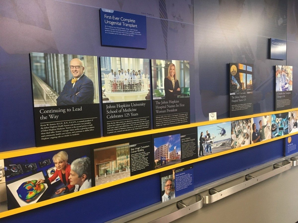 A display showing a timeline of Hopkins history.