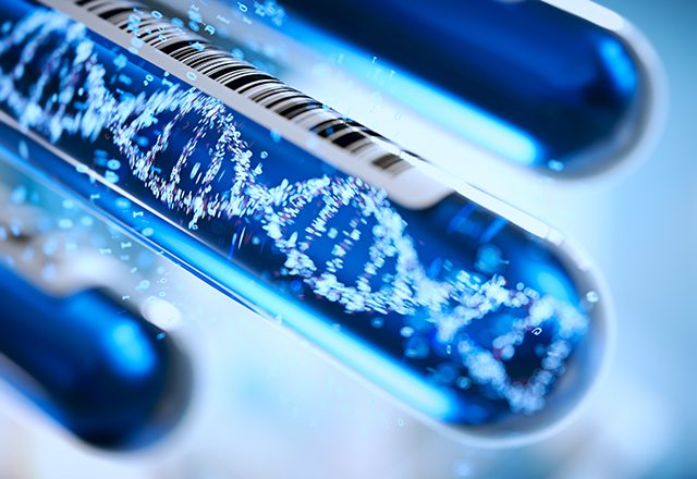 A conceptual image of DNA strands in a test tube.