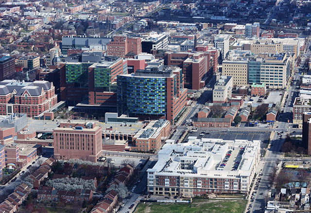 Aerial view of downtown Baltimore.