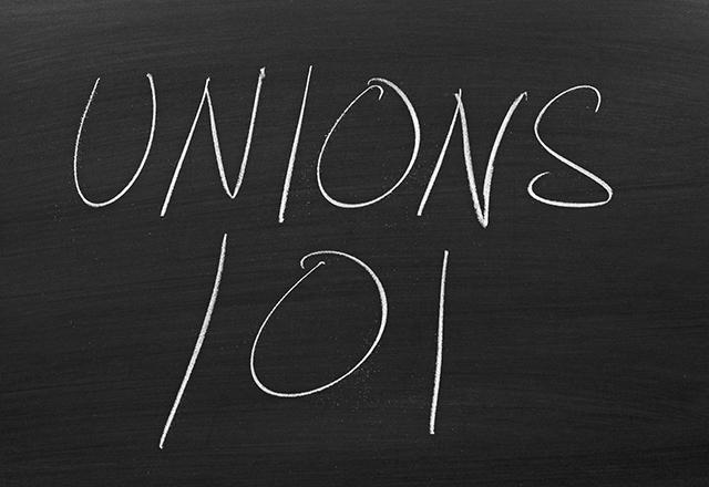 """The words """"Unions 101"""" on a blackboard in chalk"""