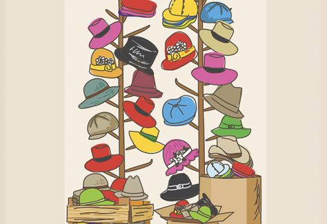 An illustration of racks of hats in the back with boxes and bins in the front.