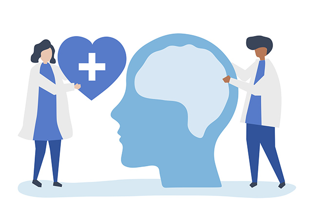 An illustration of two doctors standing on either side of a large brain.