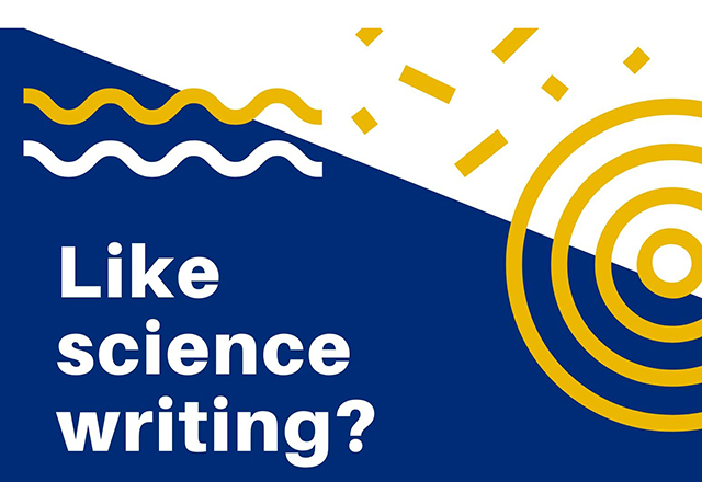 "The words ""Like science writing?"" laid over a bold geometric pattern."