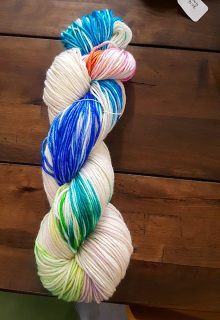 Wool dyed in a rainbow of colors.