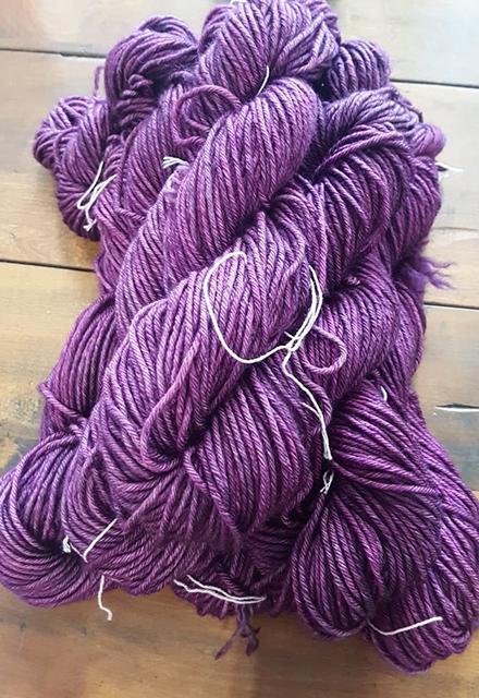 Freshly dyed purple wool.