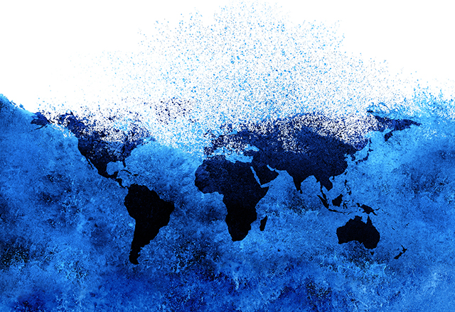 A world map dissolves into nothingness in a visual metaphor of the climate crisis.