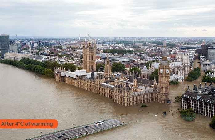 A generated image of London flooded by rising sea levels.