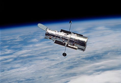 Hubble Space Telescope in orbit around Earth.