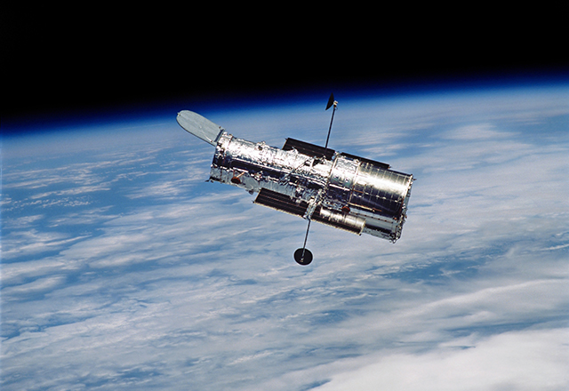 Hubble Space Telescope in orbit around Earth.