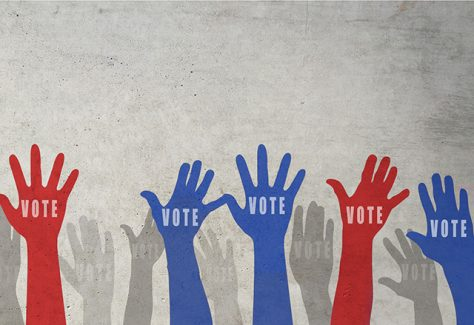 "Silhouettes of raised hands in red, blue, and gray with ""VOTE"" written on the palms."