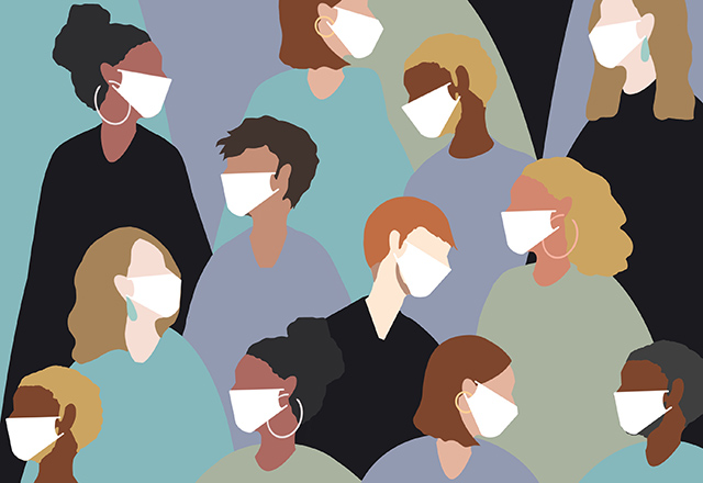 An illustration of a crowd of people wearing medical face masks.