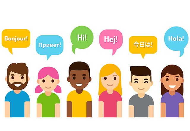 "An illustration of diverse people saying ""hello"" in different languages."