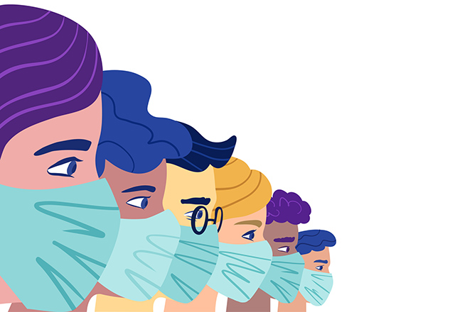 An illustration of a group of people wearing protective medical masks.