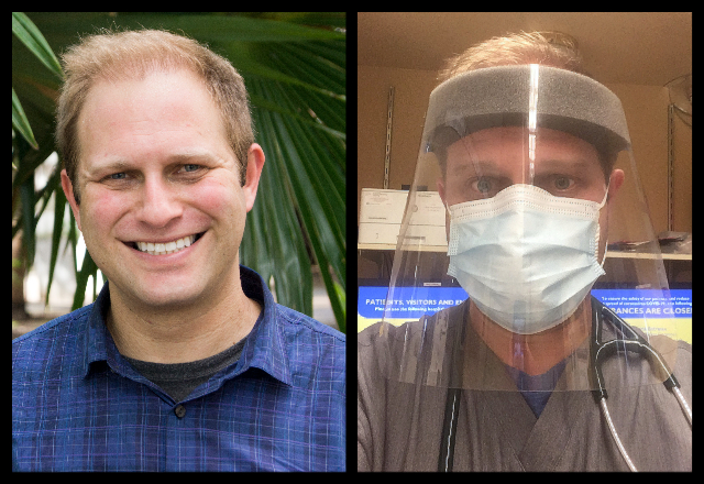 Side-by-side photos of Mark Lieber with and without PPE.