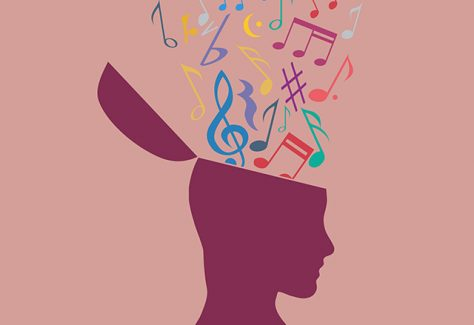 An illustration of musical notes flowing out of the silhouette of a head.