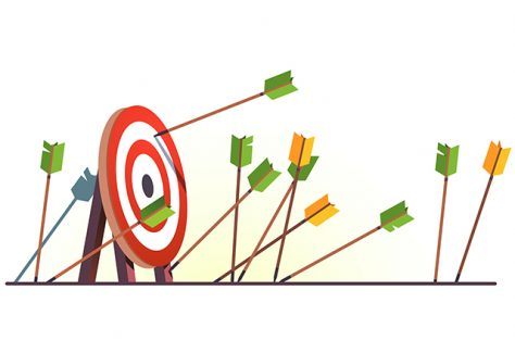 An illustration of arrows attempting to hit a target.