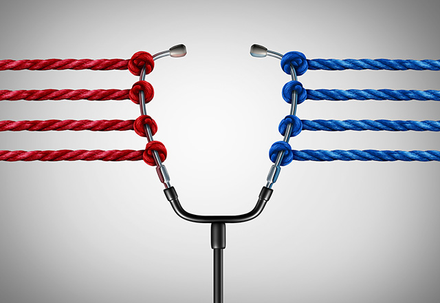A stethoscope is pulled on either side by red and blue ropes, meant to representing medical politics.