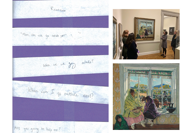 A collage of students looking at art, and pieces of paper with their written responses.