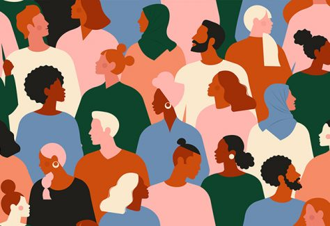 An illustration depicting a diverse crowd of people.